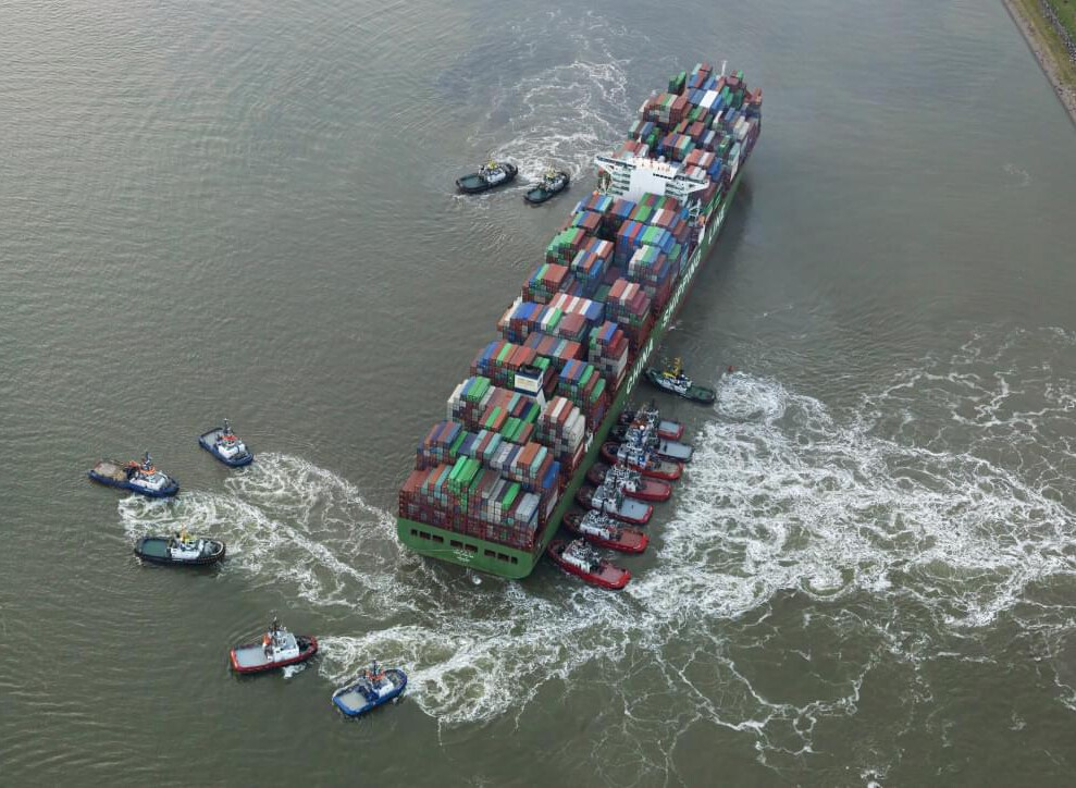 Salvage Refloating CSCL JUPITER in Nauw van Bath, River Scheldt, August 2017